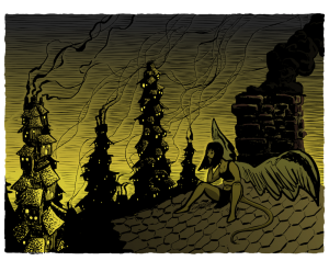Artwork for Questlandia, done by Evan Rowland.