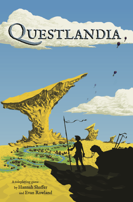 Cover art for Questlandia, done by Evan Rowland.