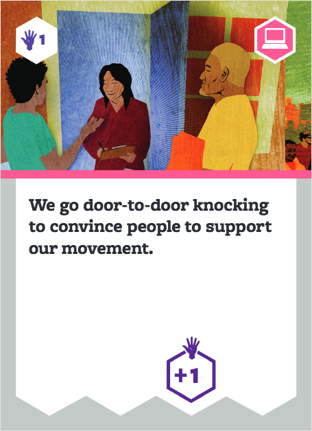 Board game card with image of people with clipboards. Text says: We go door-to-door knocking to convince people to support our movement.