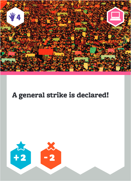 Board game card with image of massive march. Text says: A general strike is declared!
