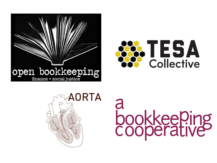 Four logos of four participating organizations: Open Bookkeeping, TESA Colllective, AORTA, and ABC Bookkeeping Cooperative