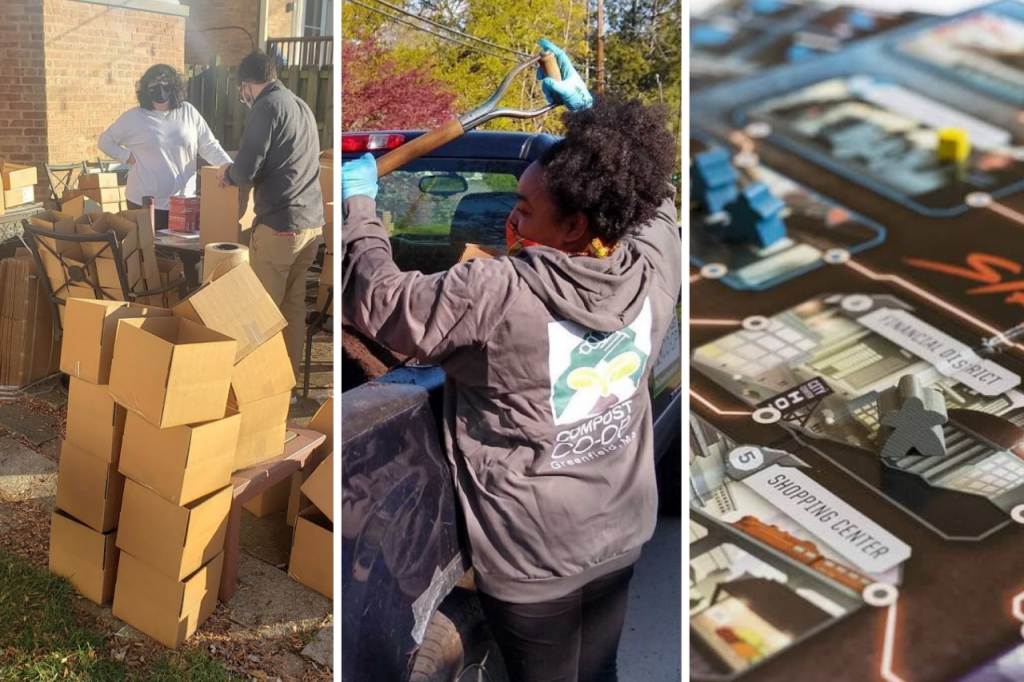 TESA's year in review: people packing boxes, compost co-op loading dirt into a truck, and STRIKE! the game of worker rebellion.